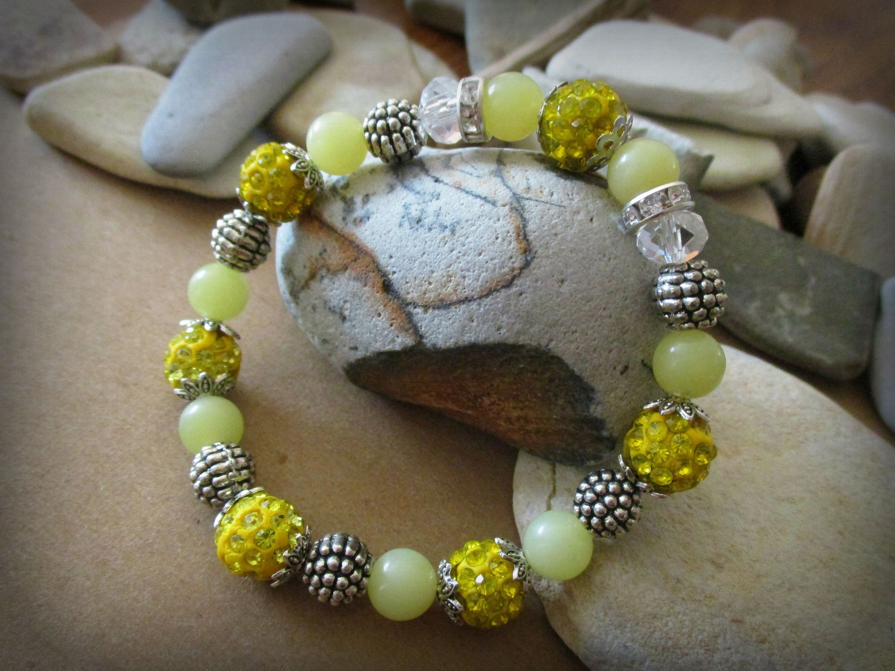 yellow beacelet silver beads magnetic clasps silver bracelet magnetic bracelet Yellow bead