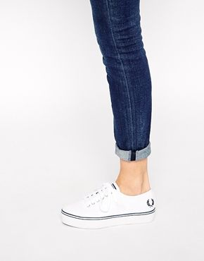 Enlarge Fred Perry Phoenix White Canvas Flatform Trainers