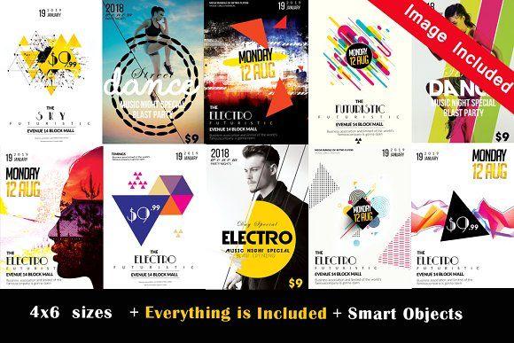 10 electro flyer bundle vol 06 by design up on creativemarket