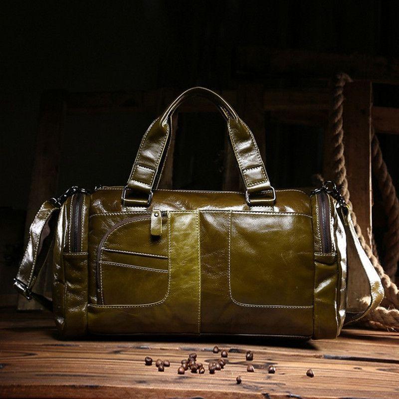 Vintage 100% Guarantee real genuine leather men handbags Fashion Oil leather shoulder duffel bag Casual men's travel bags