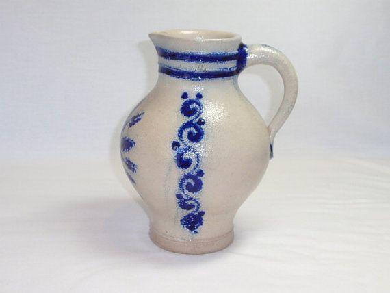 Pitcher Vase Jugendstil Salt Glazed Jug GERMANY by twocheekychicks, $146.00