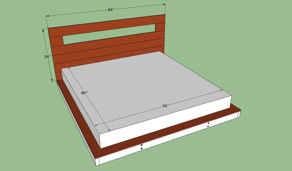Standard Size Of A King Size Bed Frame Bed Frame Plans Bed Measurements Platform Bed Plans