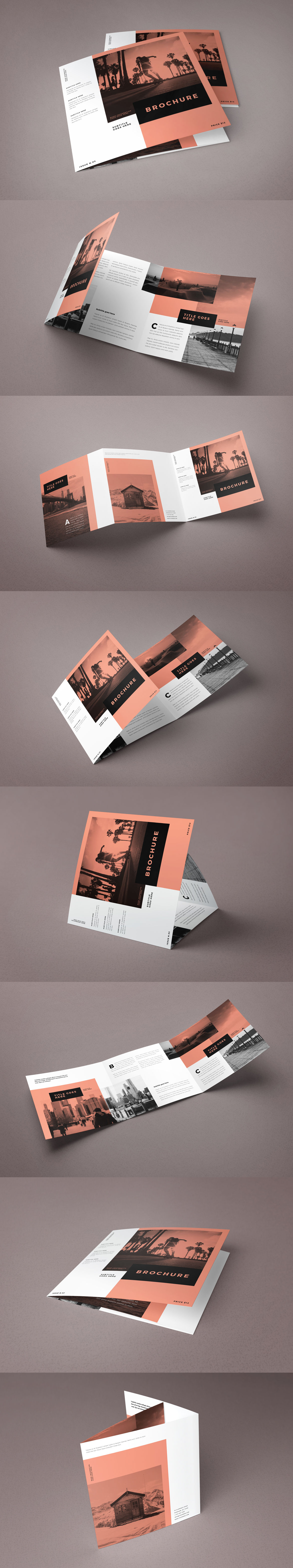 Square Minimal White Simple Trifold Brochure Template InDesign INDD ...