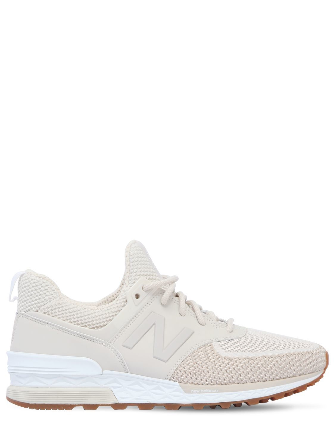 574 Sport Mesh Mid Top Sneakers In Off White Mid top