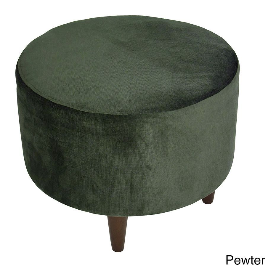 Mjl Furniture Sophia Ennis Round Upholstered Ottoman Pewter  # Muebles Otomanos