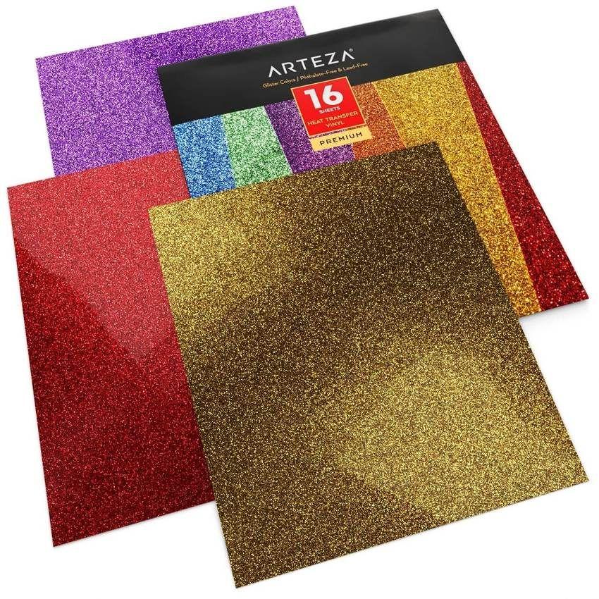 Heat Transfer Vinyl Glitter Colors 10x12 Sheets Set Of 16 1 In 2020 Heat Transfer Vinyl Glitter Heat Transfer Vinyl Iron On Glitter Vinyl