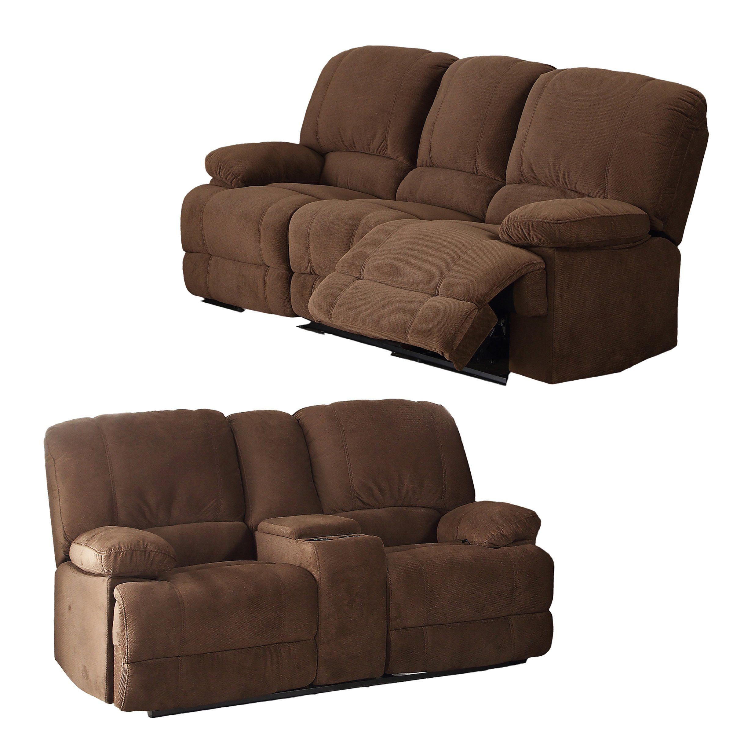 Piece Upholstered Transitional Living Room Set with Dual Reclining