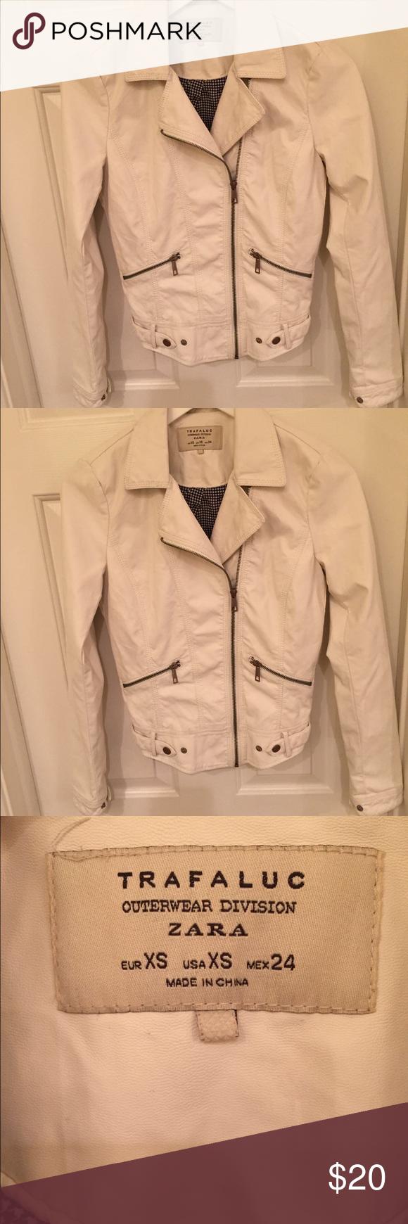 Zara Off White Faux Leather Jacket Faux leather jackets