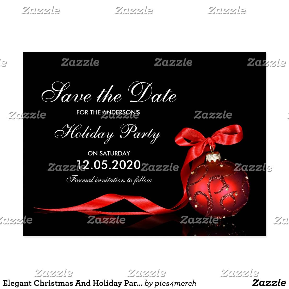 Elegant Christmas And Holiday Party Save The Date Postcard An ...