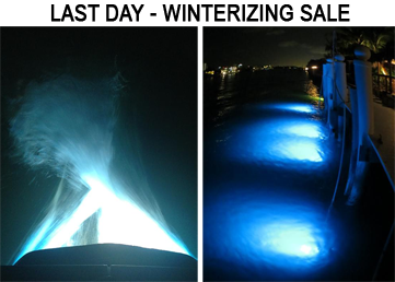 It's the last day of our winterizing sale. Take $60 off all underwater LED boat and dock lights today! #boating #wakeboarding #wakesurfing #LightItUp