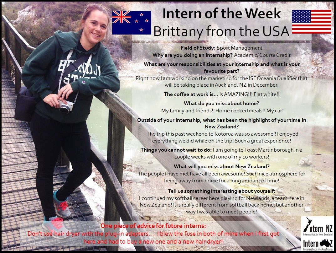Brittany from the USA is completing her internship in