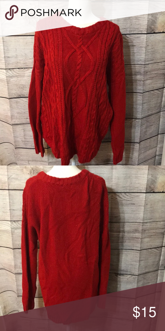 c9720055952 Red Cable knit sweater Never worn Super cozy Perfect for the holidays Merona  Sweaters Crew