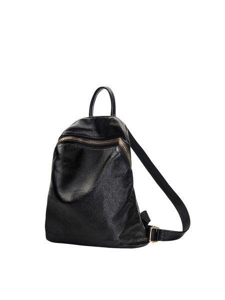 Medium Zipper Casual Cowhide Leather Backpack