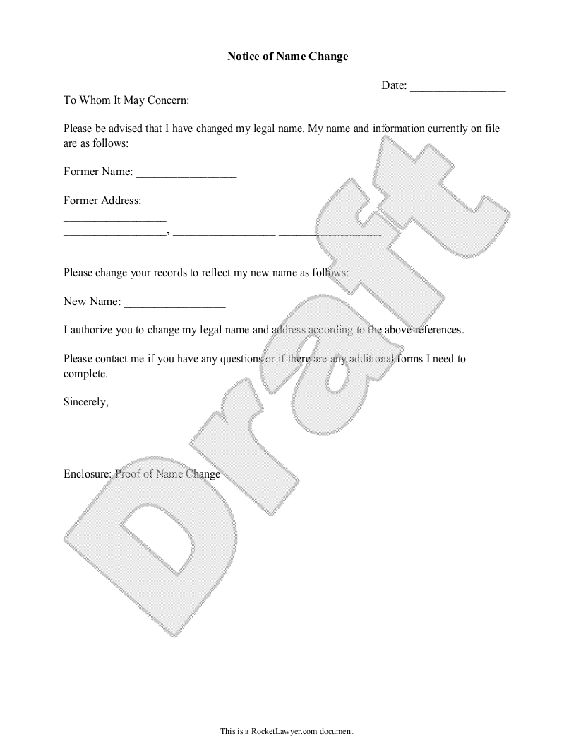 Sample Name Change Notification Letter Form Template  Art