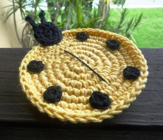 Crochet Ladybug Coasters Animal Coasters Crocheted by MonikaDesign