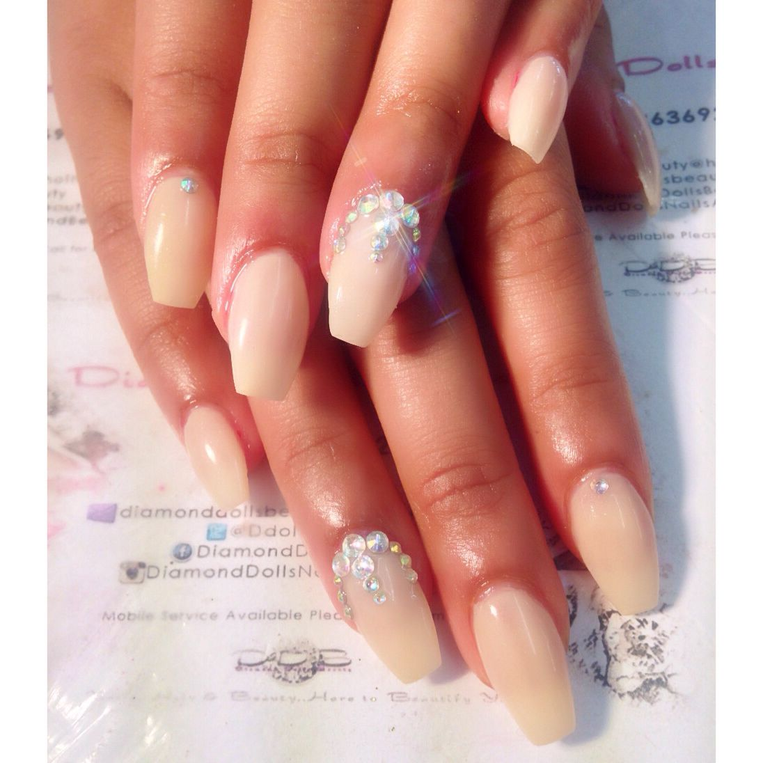 Nude diamond coffin nails by Diamond dolls beauty | Coffin Nails ...