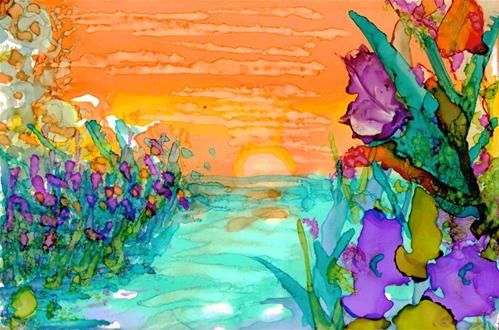 Sunrise on the Water - alcohol ink by ©Kelly Alge (via DailyPaintworks)