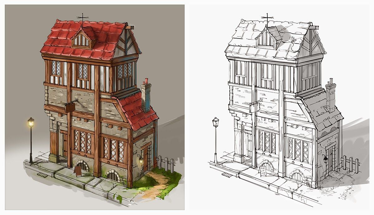 Medieval Houses Concept Art Top Down