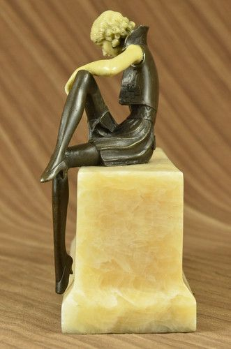 Art Deco Bone Bronze Dancing Girl Signed Preiss Sculpture Statue Figurine Decor