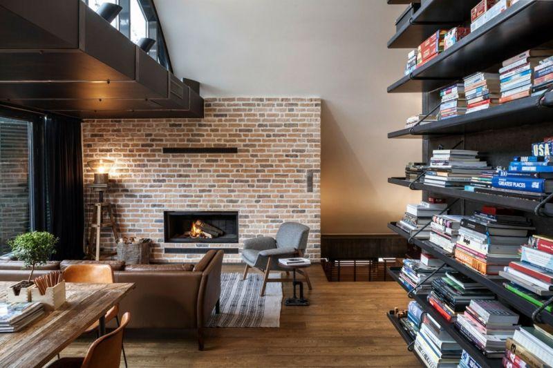 Klinker Wohnzimmer ~ Loft mit beton und klinker modernes interieur in bulgarien homes