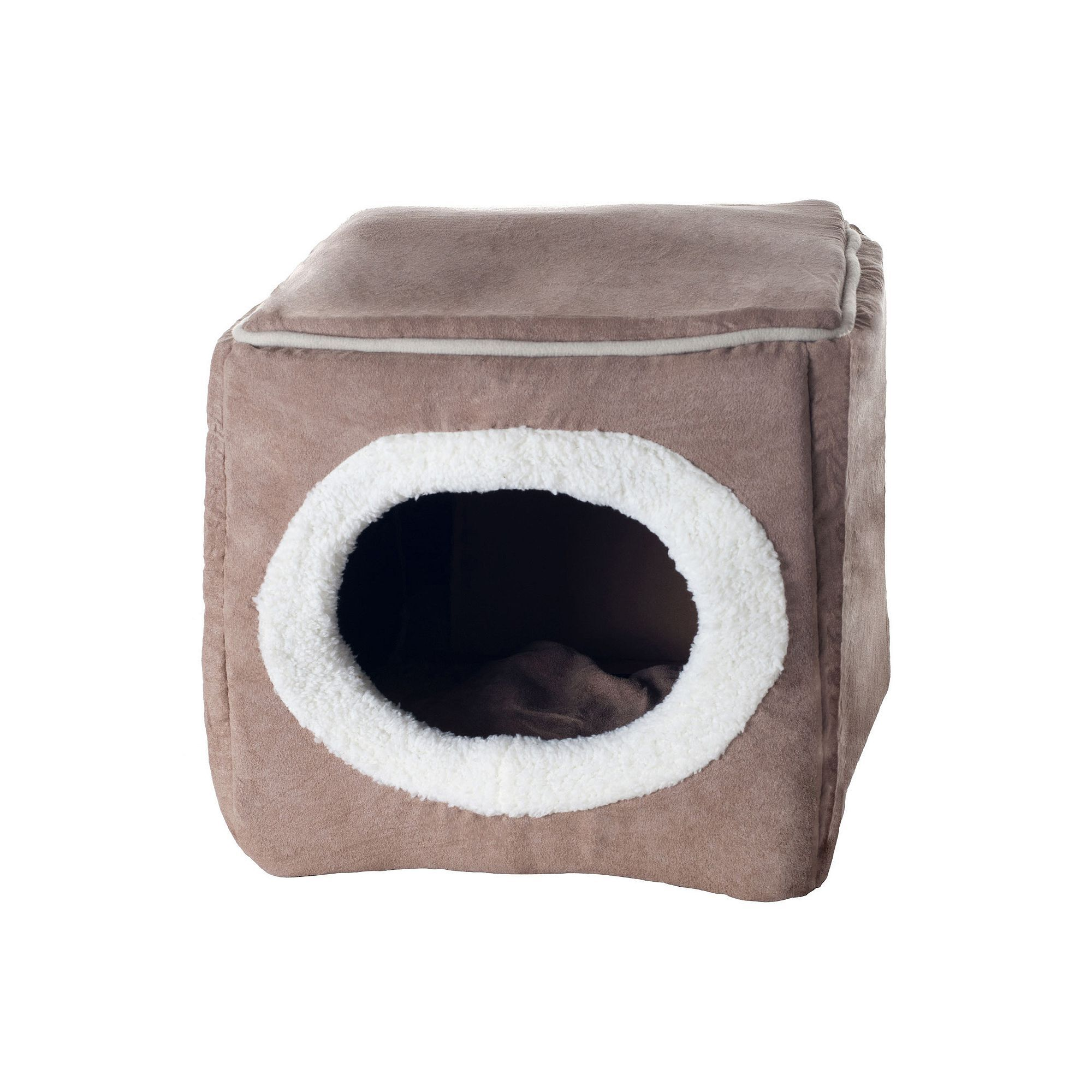 PAW Cozy Cave Enclosed Pet Bed 12'' x 13.5'', Brown
