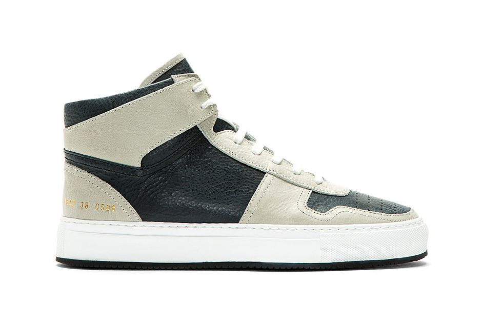ea5d613c3f6f Image of Common Projects Grey   Navy Leather Basketball Sneakers for SSENSE