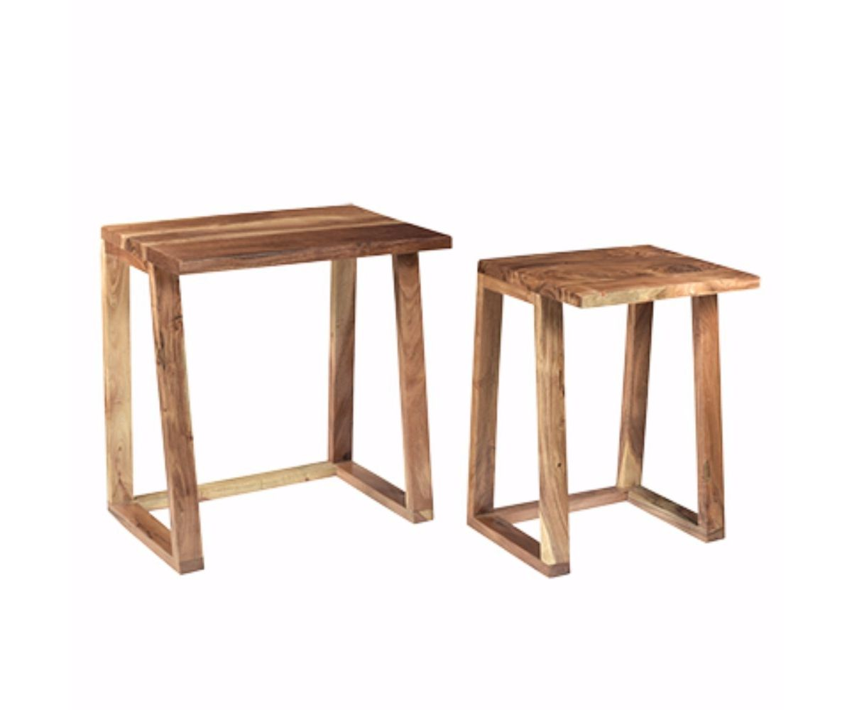 Benzara Wooden Side Tables Set Of Two Brown Reviews Home