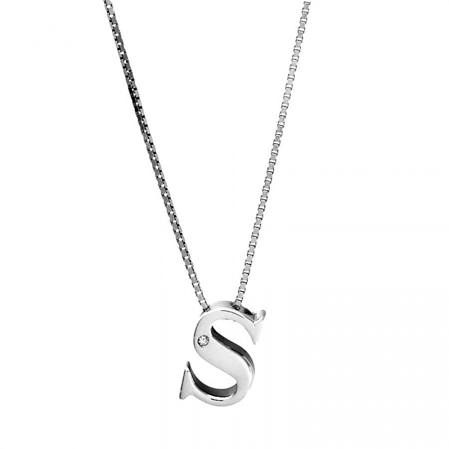 Wanna have it must have it jewells pinterest diamond jewellery with this beautifully detailed letter s initial pendant formed from highly polished sterling silver and set with a single one point diamond mozeypictures Image collections