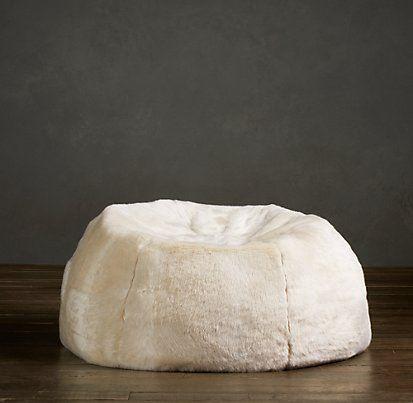 Grand Luxe Faux Fur Bean Bag Chair Arctic Fox | Restoration Hardware