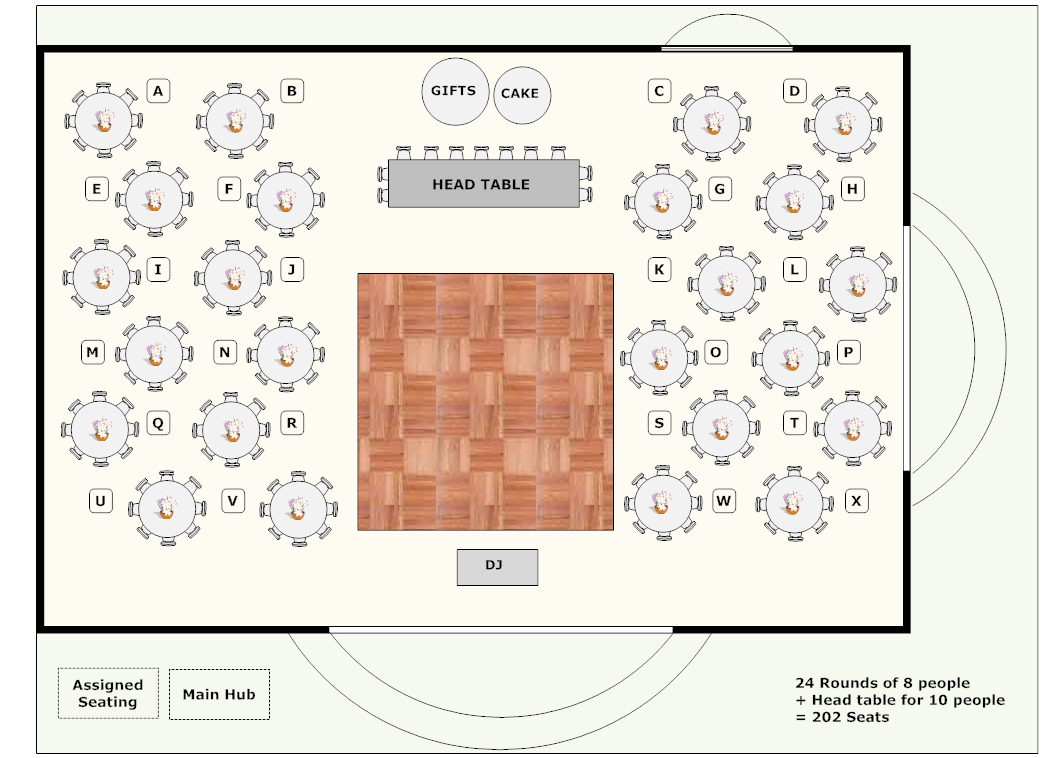 Banquet plan space layout use this software to lay out for Wedding floor plan