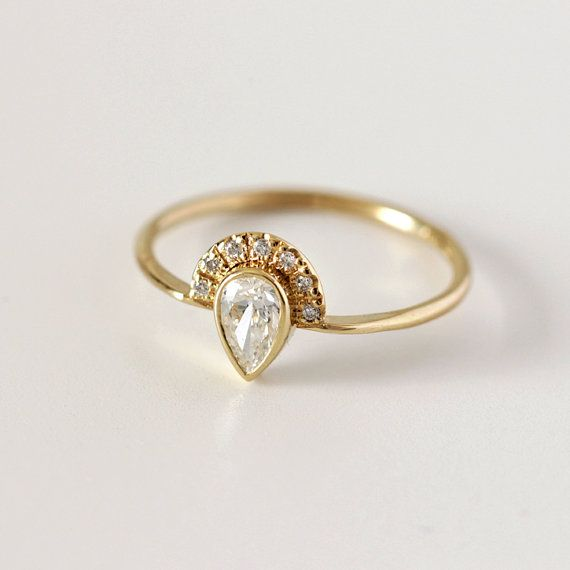 Pear Diamond Engagement Ring with Pave Diamonds Crown 0 3 Carat Pear Diamon