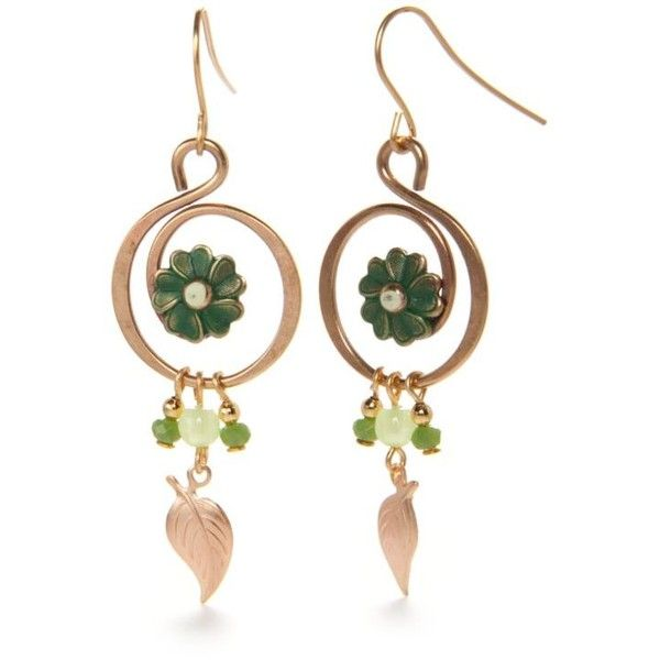 d9a27ed942e18 Silver Forest Green Gold-Tone Lucky Clover Drop Earrings ($20 ...