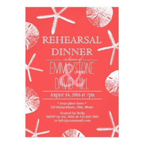 Beach Wedding Rehearsal Dinner Coral Red Beach Theme Wedding Rehearsal Dinner Card
