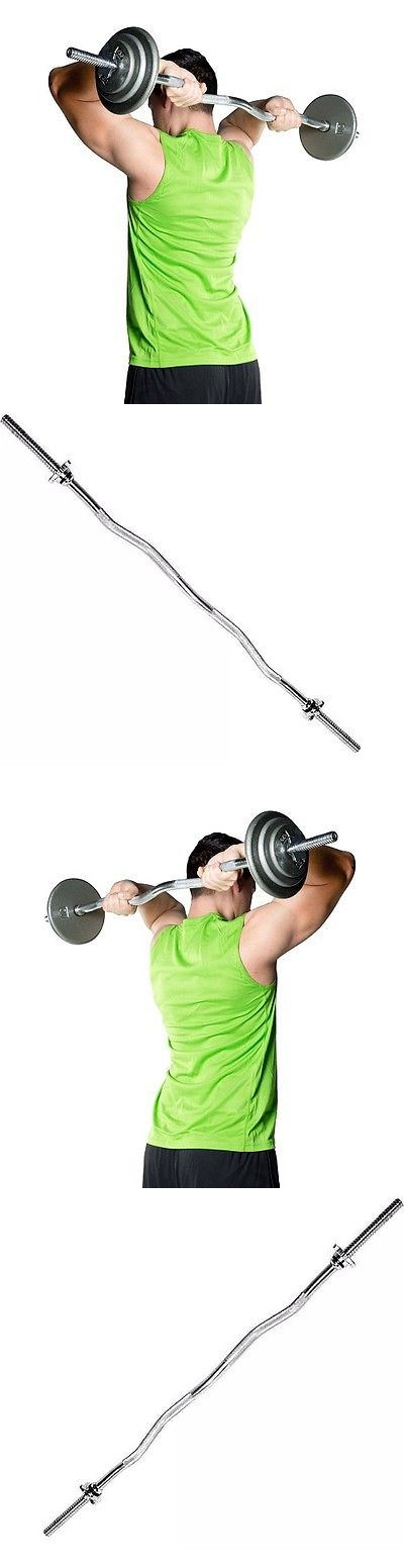 Barbells And Attachments 137864 Barbell Standard 1 Inch Chrome Weight Curl Bar Solid Steel