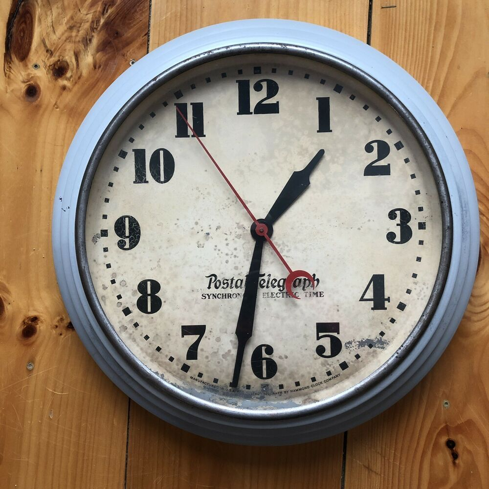 1930s Large Hammond Postal Telegraph Synchronous Electric Time Wall Clock Ebay Wall Clock Clock Electric Clock