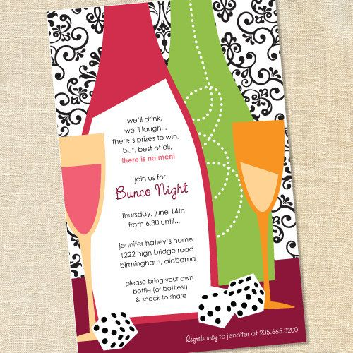 Sweet Wishes 20 Girls Night Out Bunco Casino Party Invitations - gathering invitation sample