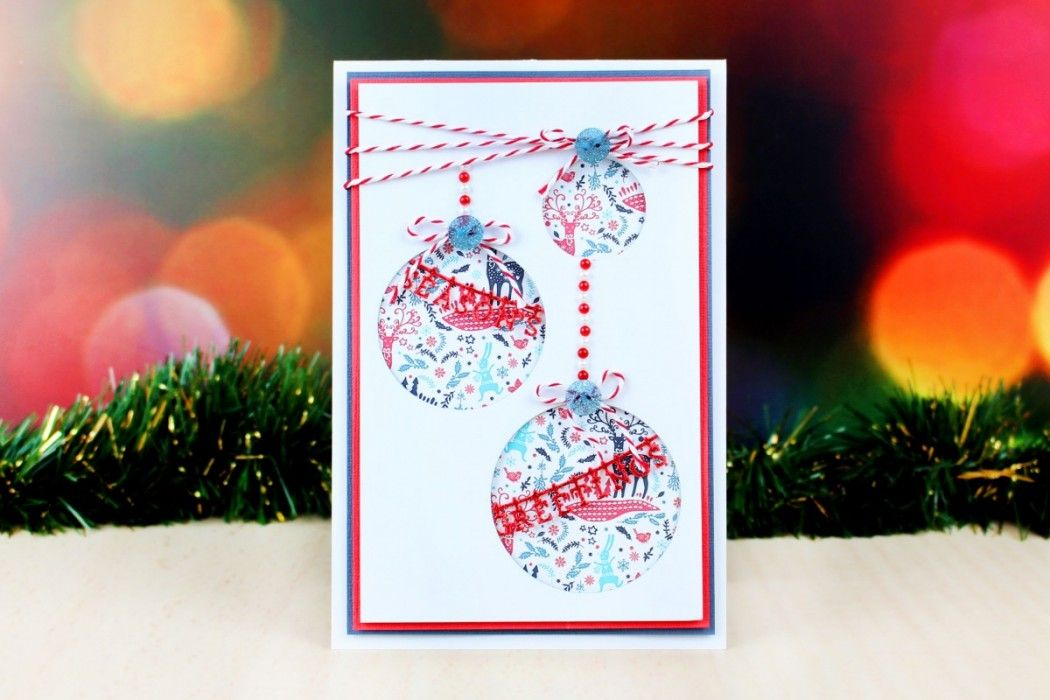 Die Cut Christmas Baubles Card Christmas Baubles Papercraft And