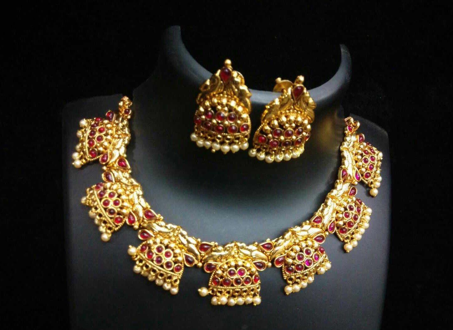 Gram gold pearl polki necklace set polki necklace set temple