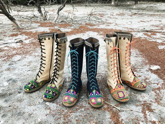4f661a944c275 Womens Boho Boots, Ethnic Embroidered Textiles with Coin Fringe ...