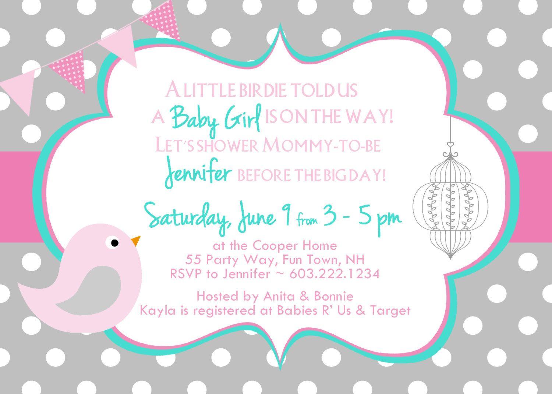 Birds Baby Shower Invitation Pink By Asyouwishcreations4u 14 00