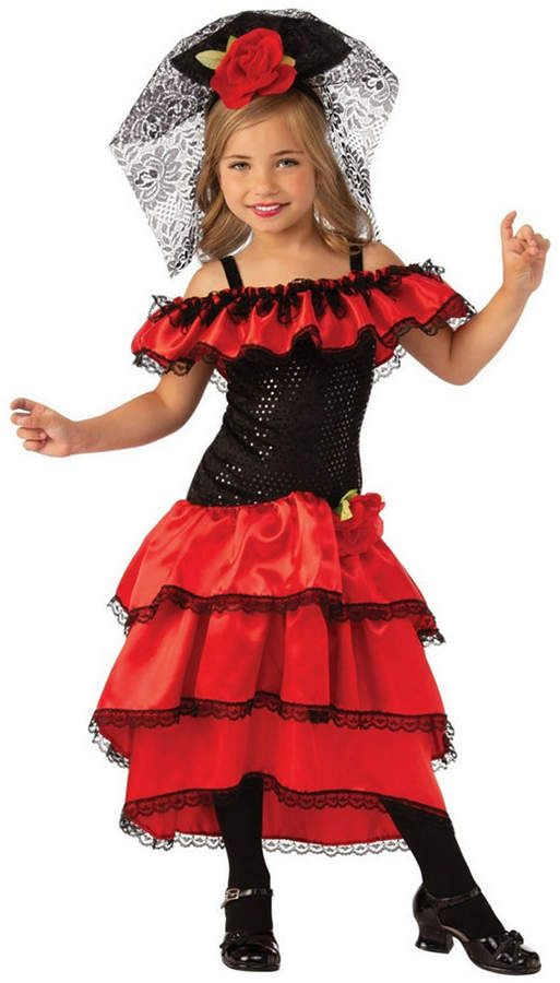 Childrens Girl Flamenco Fancy Dress Costume Spanish Dancer Salsa Kids Outfit M