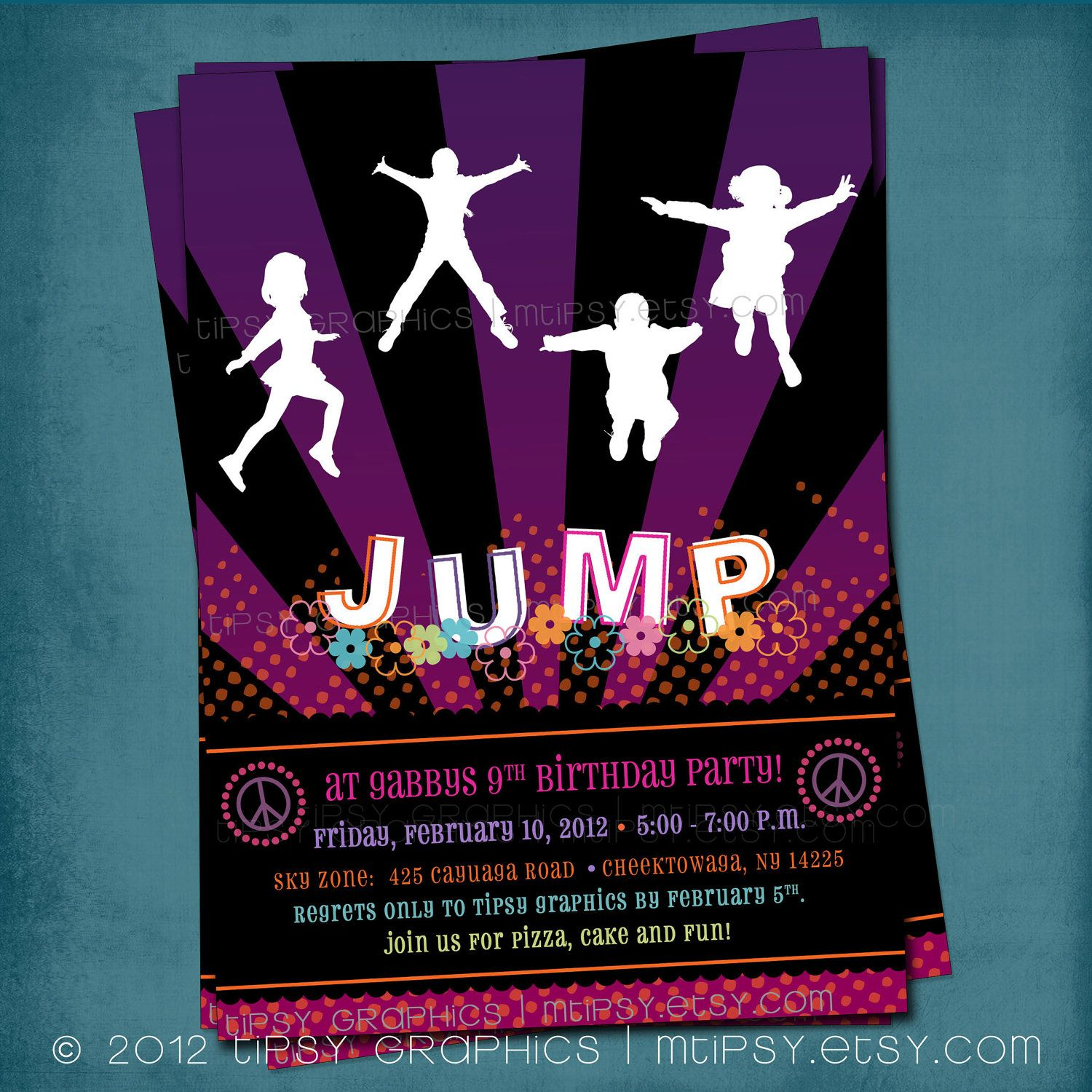 Trampoline Bounce Birthday Party Invitation. Girly PEACE & JUMP ...