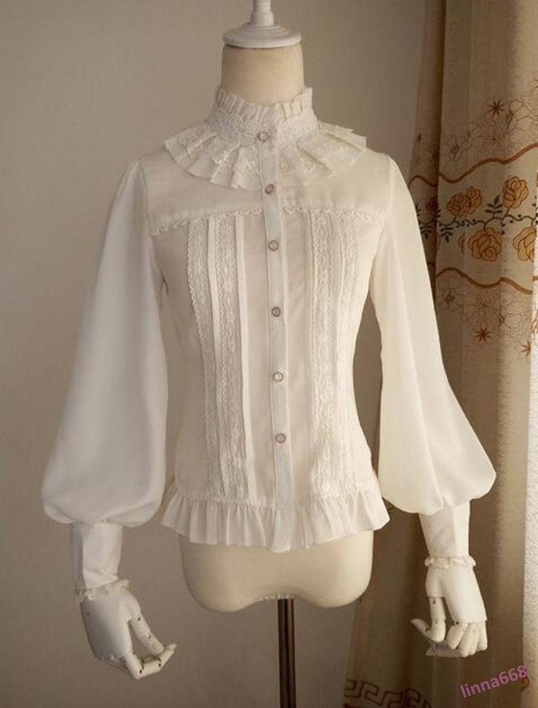 fde4ac8cc121c Women s Lolita Clothes Chic Victorian Long Sleeve T-Shirt Retro Lace Chiffon   Unbranded  Blouse  EveningOccasion