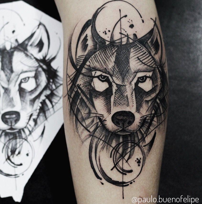 Tattoo lobo estilo rascunho Criação @paulo.buenofelipe Bauru