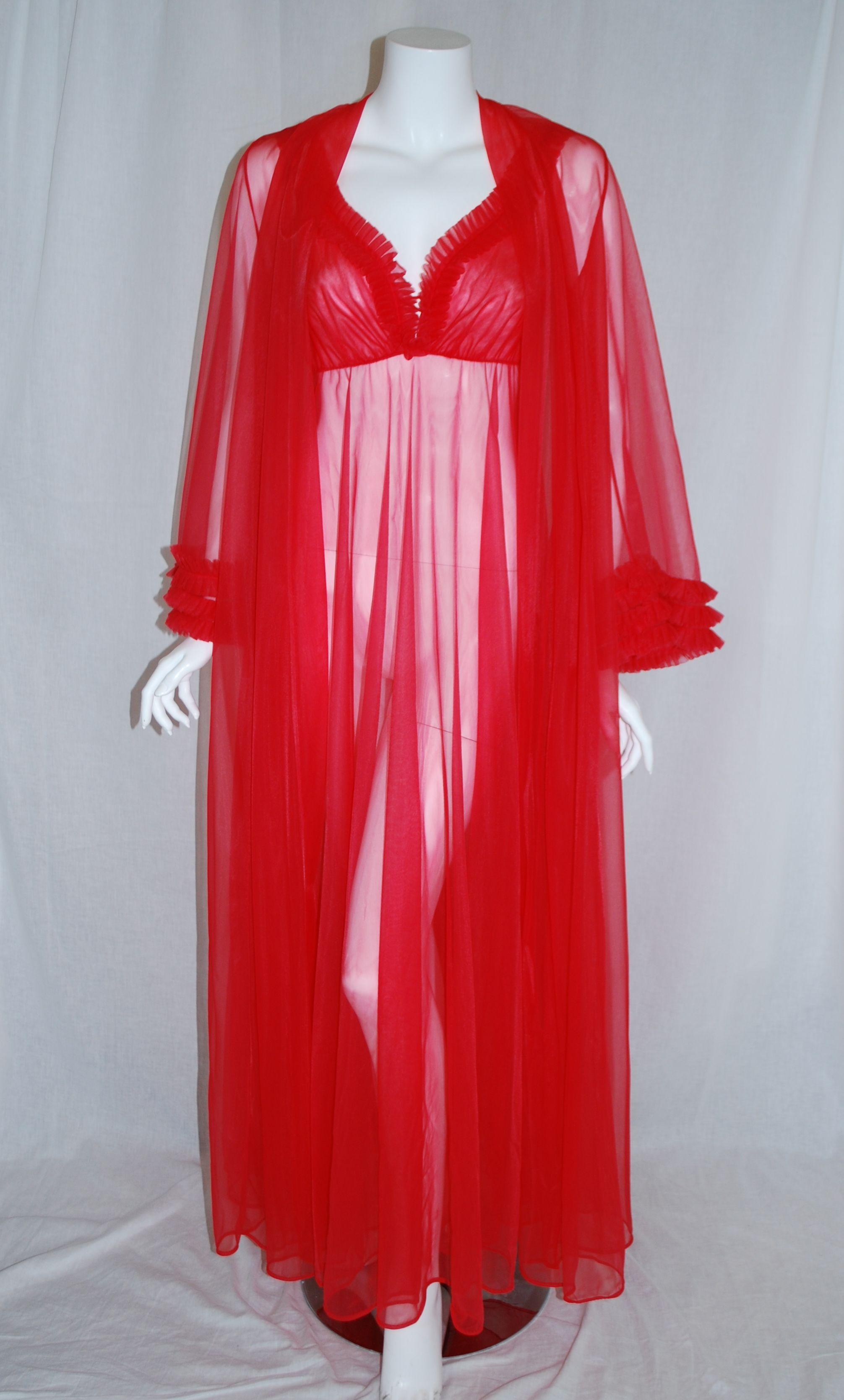 1970s Red Glydon's Peignoir Set