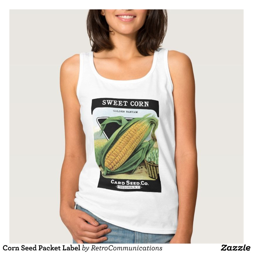 Corn Seed Packet Label Basic Tank Top Tank Tops
