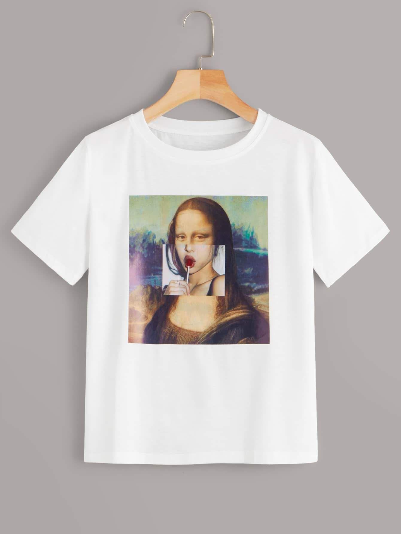 Mona Lisa señora manga corta t-shirt blanca rosa flores-patrón grandes tamaños