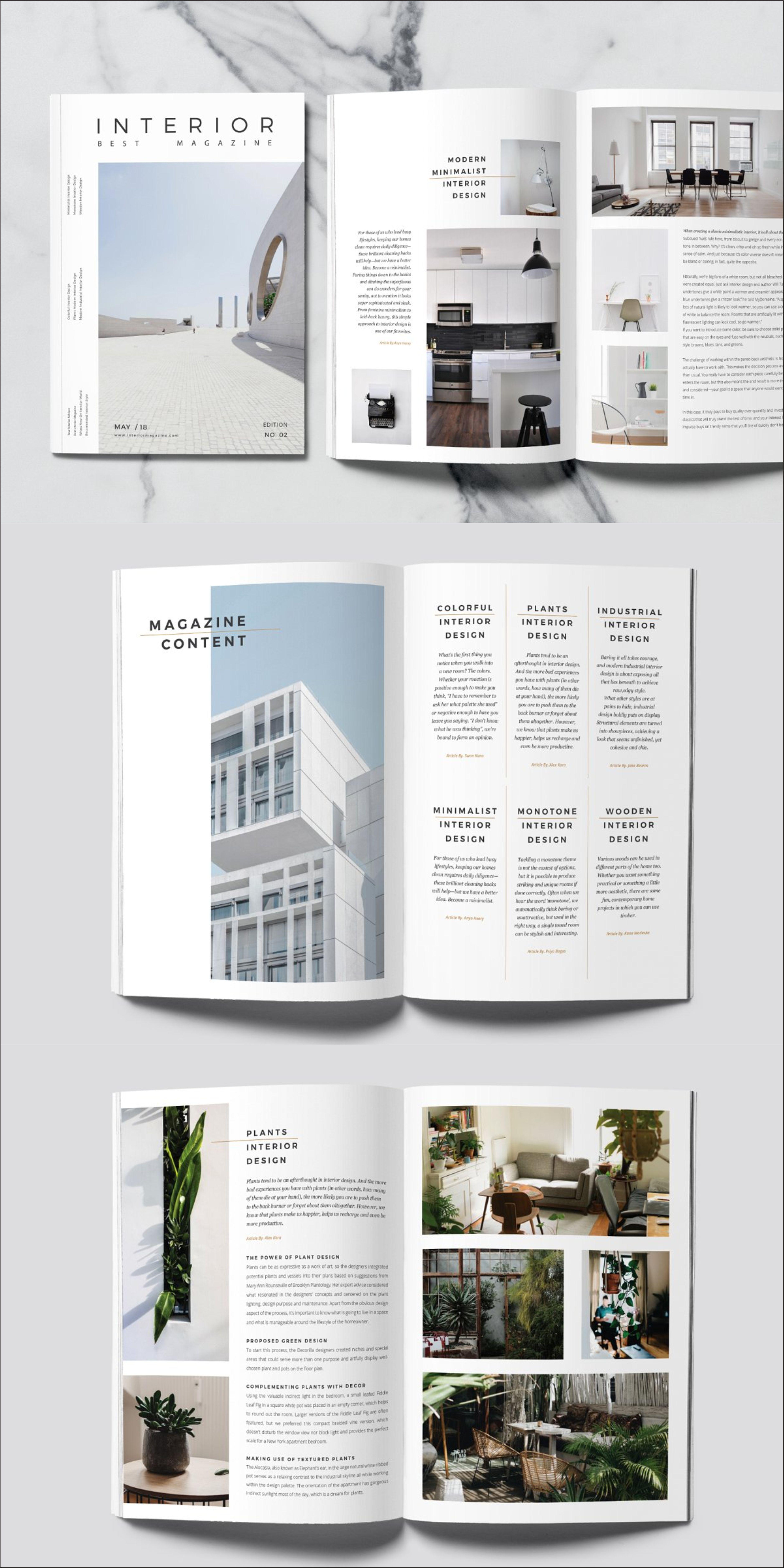 Minimal Interior Magazine Template Interior Design Magazine Layout Magazine Layout Design Portfolio Design Layout