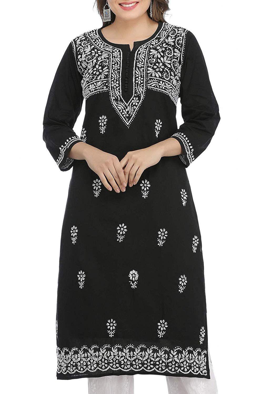 2c75fec421 ADA Hand Embroidered Lucknow Chikan Womens Cotton Kurti Kurta  (A341075_Black): Amazon.in