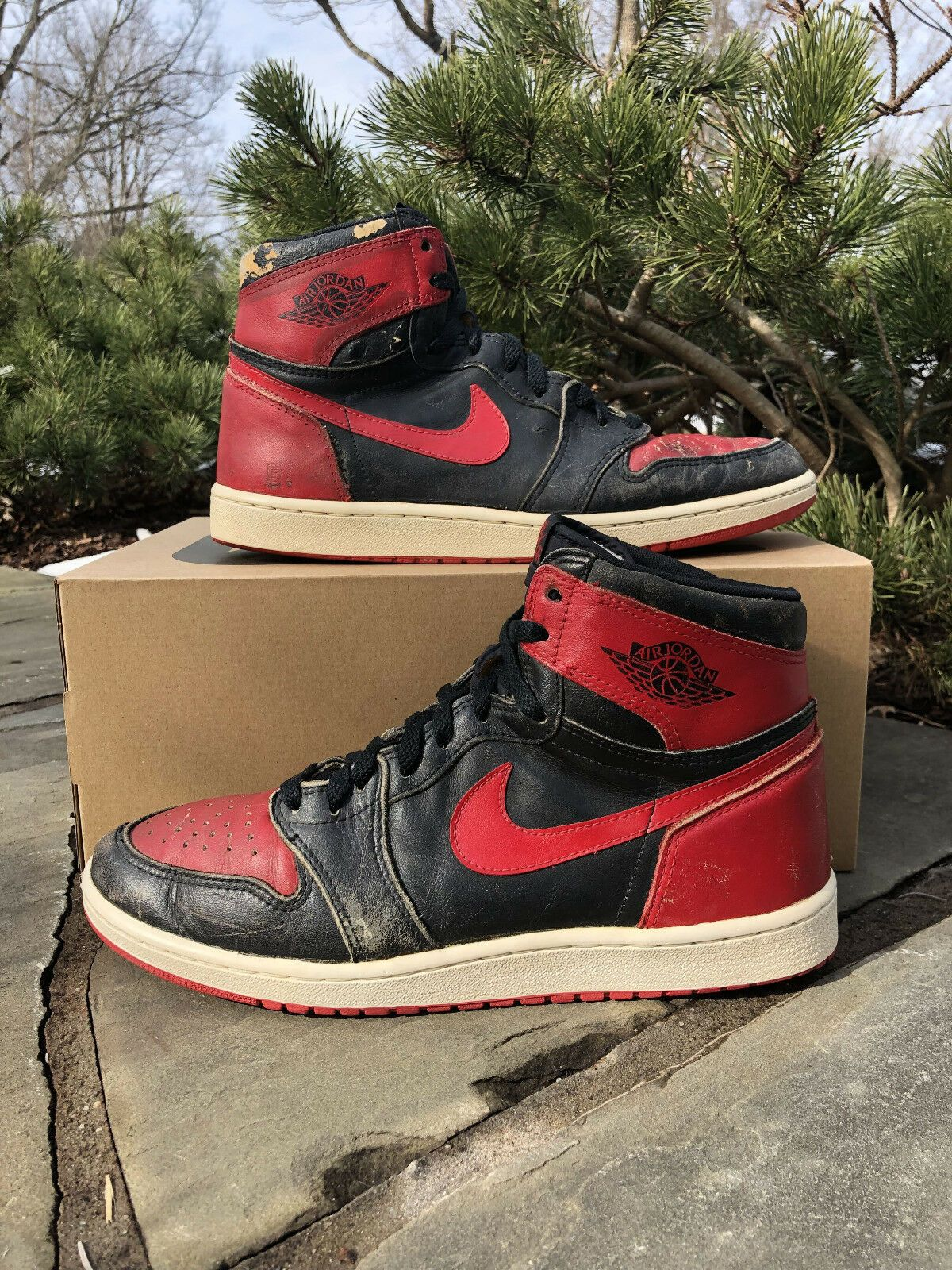 c2fca9f26b56df 1985 Nike Air Jordan 1 OG Bred Size 11.5 Orginal Vintage Black Red Banned  Korea
